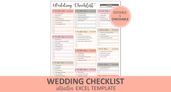 Peachy Wedding Checklist   Wedding To Do List Printable And Editable |  Excel Wedding Checklist Template | Instant Digital Download  Editable Checklist Template