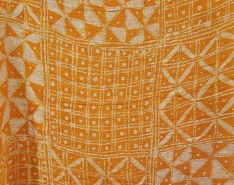 White on Orange Batik Scarf