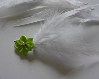 lime green flower scarf clip brooch and feather wedding