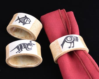 Southwest Indian Napkin Rings, Handmade, Hand-Painted Ceramics by Arizona Artist, Karlene Voepel. Sold Individually.