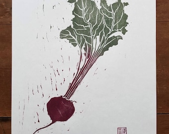 Beetroot woodblock print, woodcut, Japanese, hand pulled print, nature, printmaking, vegetable, leaves, kitchen wall art,  allotment
