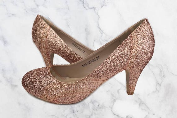 rose gold wedding shoes gold glitter shoes copper glitter mid heel bridal 7127