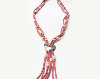 Summer Sale Western Leather & Bead Necklace in Pink