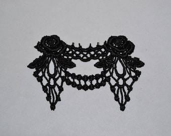 flower pattern black guipure lace