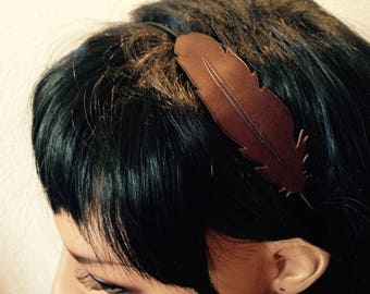 Feather headband headband leather shape * 3 lace *.