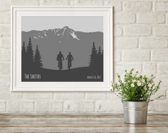 Bicycle Gift for Couple, Mountain Couple Gift, Mountain Bike Art Print, Adventure Wedding Gift, Bike Anniversary Gift, Personalized Couple