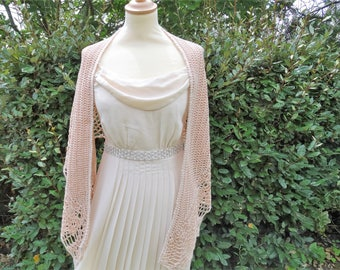 crocheted cotton shawl in nude pink