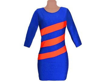 Blue + Orange Diagonal Stripe Dress 3/4 Length Sleeves
