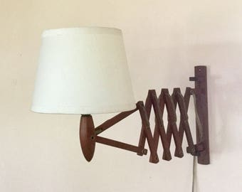 Mid-century modern Danish teak scissor / accordion wall / reading light