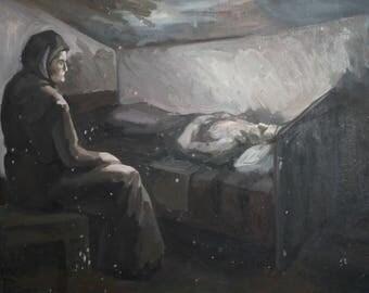 Oil painting vintage old woman portrait
