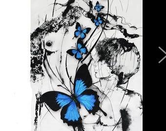 blue black white butterflies clothing 2.6 m shirt dress silk fabric
