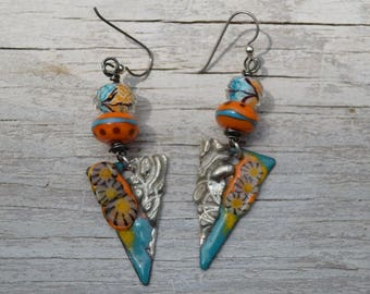 Turquoise and Orange Torch earrings - DayLilyStudio