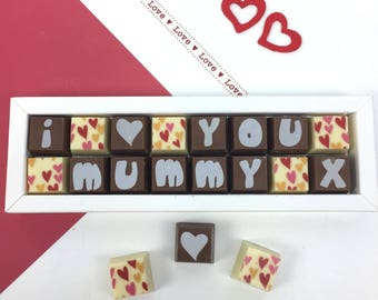 Chocolates for Mum - I LOVE YOU MUMMY - Box of Chocolates - Milk Chocolates - Gift for Mummy - Mother's Day Chocolates - Birthday Chocolates