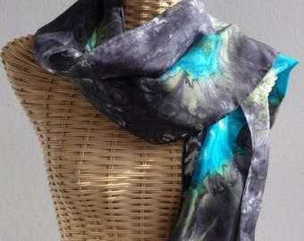 Scarf, scarf, black, turquoise and green stylized silk shawl E82 @evysoie