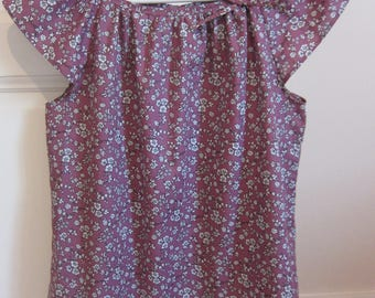 blouse woman in purple flowers Japanese cotton white