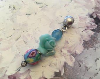 Pink romantic pendant handmade polymer bead