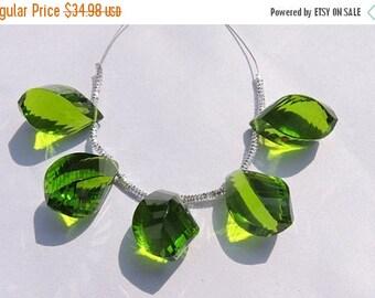 25% OFF 5 Pcs Beautiful Peridot Green Quartz Faceted Twisted Drops Briolette Size 19*10 MM