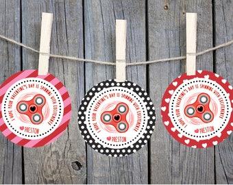 Printable Valentines, Valentine tags, Fidget Spinner Valentine, Valentine Stickers, Personalized Valentine tags, Kids Valentines, custom tag