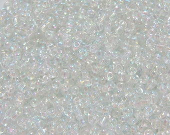 5 OZ OF 0.5 MM ROUND CLEAR CRYSTAL BEADS IRIDESCENT IN BULK