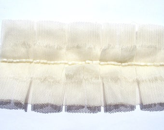 LACE TULLE 25MM 19CM LONG EMBROIDERED TULLE IVORY CHIFFON IVORY 1/4 TUBING JASPER 6CM FOLDED
