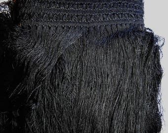 30 CMS in 30 CM lace GUIPURE and fringe VISCOSE black 48 CM