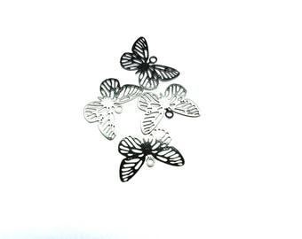 SMALL METAL ENGRAVED END METAL BUTTERFLY PENDANT LACQUER BLACK 10/15 MM