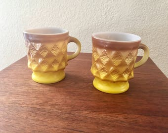 Vintage Set of 2 Fire King Kimberly Mugs in Yellow/Brown Color