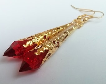 Red Earrings , Red Gold Earrings , Red Teardrop Earrings , Gold Teardrop Earrings , Victorian Earrings , Boho Earrings , Handmade Gift