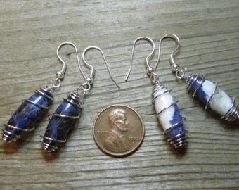"1 Pair of Sodalite Dangle Earrings- ""Cage wrapped"" 20mm oval/rice shapes- Stone/gemstone beads"