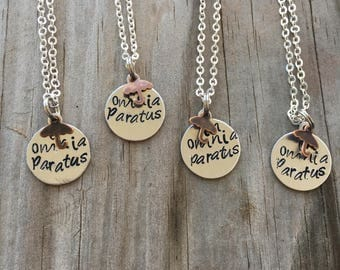 In Omnia Paratus Necklace//Gilmore Girls//Pop Culture//Life and Death Brigade//Rory Gilmore//Logan Huntzberger//Hand Stamped//Stamped