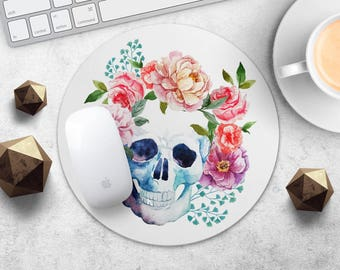 Skull MousePad Flower Mouse Mat Watercolor Mouse Pad Floral MouseMat Round MousePad Gift for Her MouseMat Desk Accessories Office Supplies