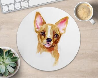 Chihuahua Mouse Pad Dog Mouse Mat Fabric MousePad Round MouseMat Her Gift Watercolor MousePad Cute MouseMat Desk Accessories Office Supplies