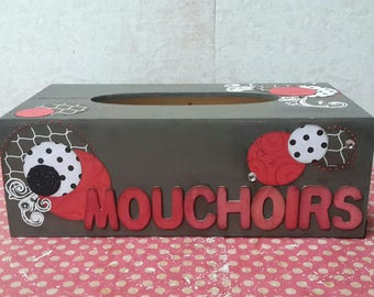 Chic and modern: scrappee in black, red and taupe wooden tissue box
