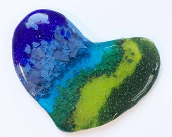 Valentines Heart, Coaster,Paperweight,Chinese New years gift,fused glass,Trivet,Beach Ocean Dishware,Display,Birthday Present,Inspirational