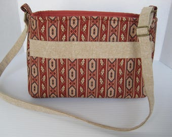 Purse, handmade, rust-tan stripe, shoulder bag, cross body bag. medium size, woman's accessory, gift, everyday bag