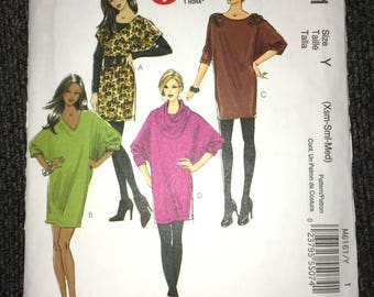Uncut McCall's Dress Cowl Tunic Pattern M6161 Sizes Xs Sm Med - Bust 29.5-36 inches