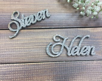 Glitter Place names | Glitter Wedding Placenames | Gliter Place Card | Wedding Placecards