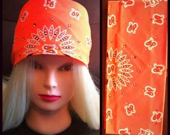 Florescent Orange Bling Bandana