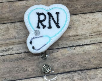 RN Badge Reel | ID Badge Reel |Felt Badge Reel | Retractable Badge Reel | Badge Reel | ID Badge Pull | Nurse Gifts | Medical Professional |