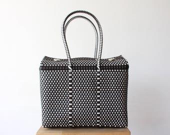 Dark Brown & White Handwoven Mexican Bag, Oaxaca Tote, Mexican Plastic Bag, Mexican Basket, Mexican Art, MexiMexi, Picnic Basket