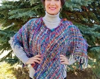 Fun Colorful Woven Poncho