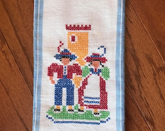 Vintage German Cross Stitch Tea Towel  | Scandinavian Kitchen Tea Towel | German Style Kitchen Linen | Cotten Tea Towel with German Style