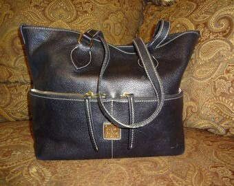 Black Pebbled Leather Dooney and Bourke Tote Bag