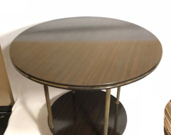 End table Formica Brown low Table + Vintage 70s brass feet