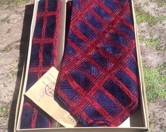 Vintage Poland necktie, Husband Gift,  Vintage Men's wide neck tie, deep blue with red accents, polished threads throughout, 1980's.