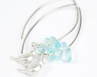 aquamarine earrings bird jewelry blue earrings drop hoop earrings simple jewelry sparrow earrings gem earrings nature sister gifts mom кю15