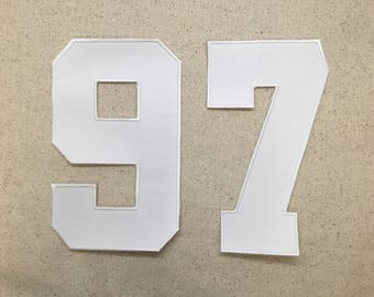 """5"""" - Number - Athletic/Collegiate Style - Color Choice - Iron on Applique - Embroidered Patch"""