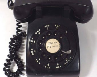 Vintage Western Electric Bell Systems Rotary Dial Telephone CD 500 Black 1960's