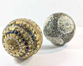 Large Beaded Mosaic Balls Silver Gold Bling Jeweled Art Christmas Holiday Wedding Kissing Ball Decor