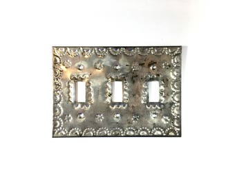 Tin Switchplate Light Cover Vintage Three Toggle Hojalata Tin Art Embossed  Design Folk Art Mexico